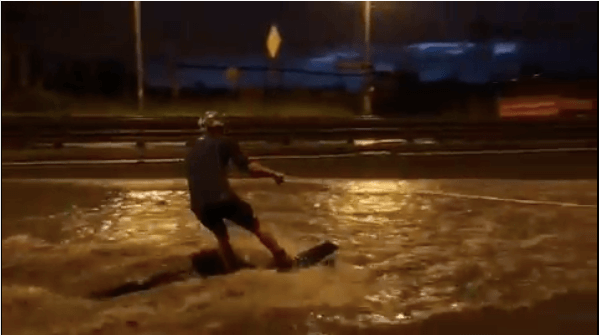 Man wakeboarding in Petersburg street
