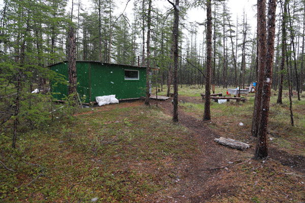 Snow falls on the camp, June 29